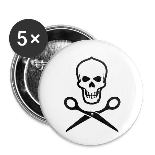 Totenkopf mit Schere - Buttons klein 25 mm (5er Pack)