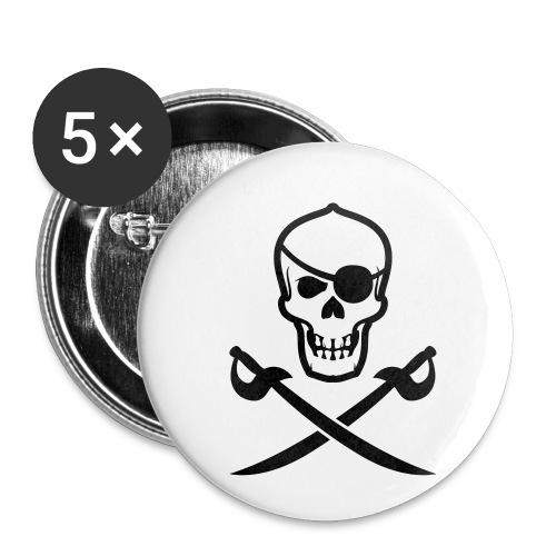 Totenkopf Pirat - Buttons klein 25 mm (5er Pack)