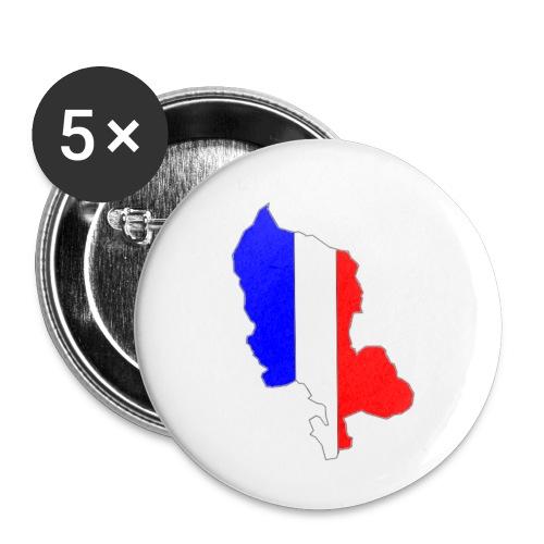 Carte Territoire de Belfort bleu blanc rouge - Lot de 5 petits badges (25 mm)