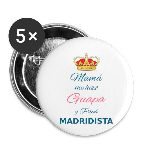 Mamà me hizo Guapa y papà MADRIDISTA - Confezione da 5 spille piccole (25 mm)
