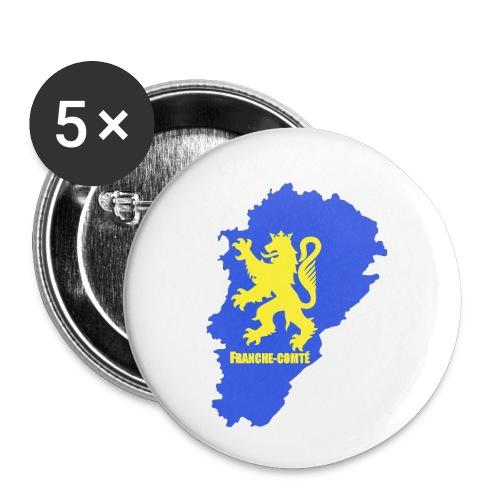 Carte Franche-Comté + lion - Lot de 5 petits badges (25 mm)
