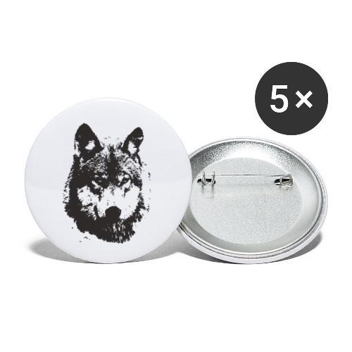 illustration te e te de loup noire - Lot de 5 petits badges (25 mm)