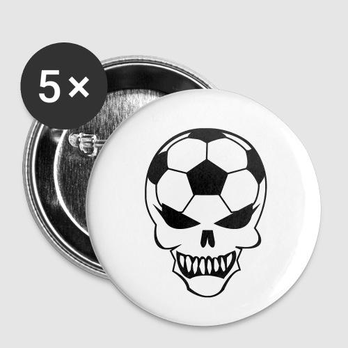 Fußball-Totenkopf - Buttons klein 25 mm (5er Pack)