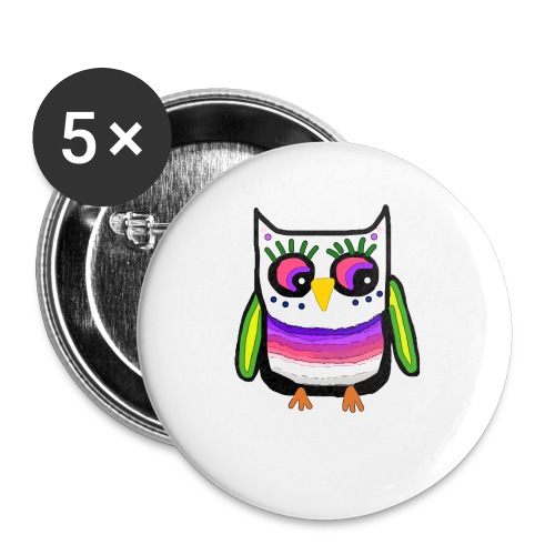 Colorful owl - Buttons small 1''/25 mm (5-pack)