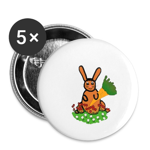 Rabbit with carrot - Buttons small 1''/25 mm (5-pack)