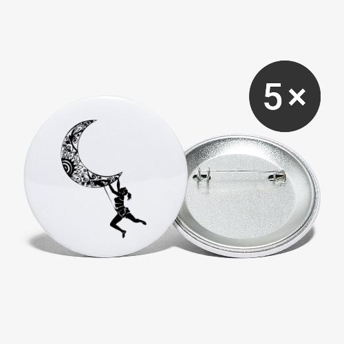 Climbing Woman Girl moon - Climber on the moon - Buttons small 1''/25 mm (5-pack)