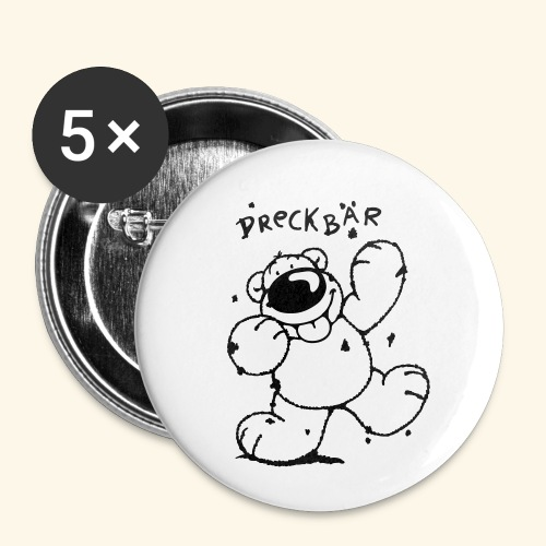 Dreckbär - Buttons klein 25 mm (5er Pack)