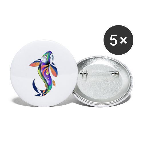 Regenbogen Fisch - Buttons klein 25 mm (5er Pack)
