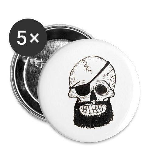 Bearded Skull - Lot de 5 petits badges (25 mm)