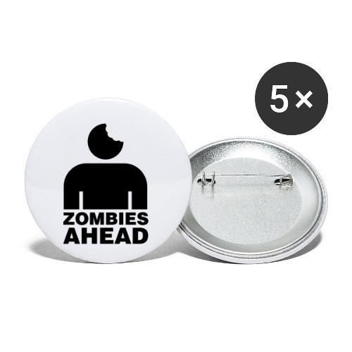 Zombies Ahead - Små knappar 25 mm (5-pack)