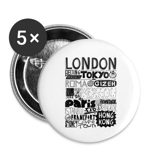Villes du monde - Lot de 5 petits badges (25 mm)