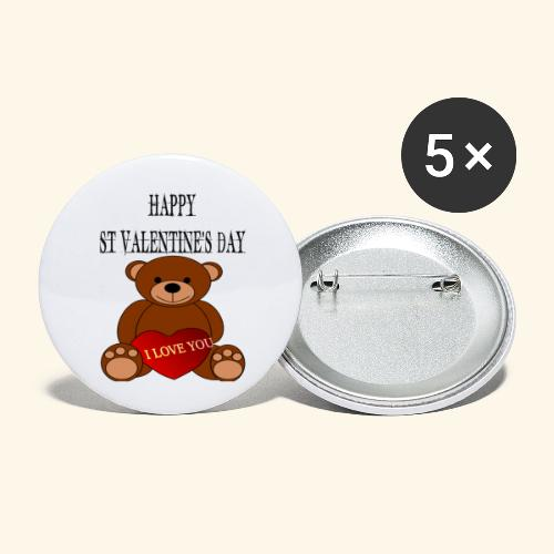 Love You Teddy Bear For Valentines Day - Buttons small 1''/25 mm (5-pack)