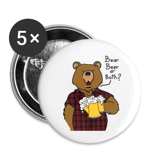 Beer and Bear - Lot de 5 petits badges (25 mm)