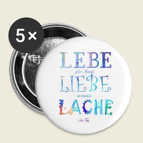 Lebe Liebe Lache bunt - Buttons klein 25 mm (5er Pack)
