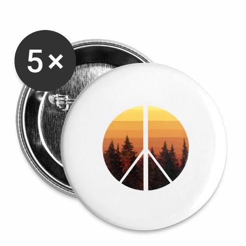 peace and sun - Lot de 5 petits badges (25 mm)