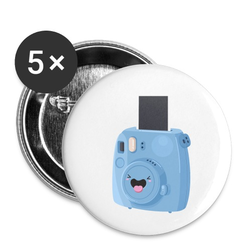 Appareil photo instantané bleu - Lot de 5 petits badges (25 mm)