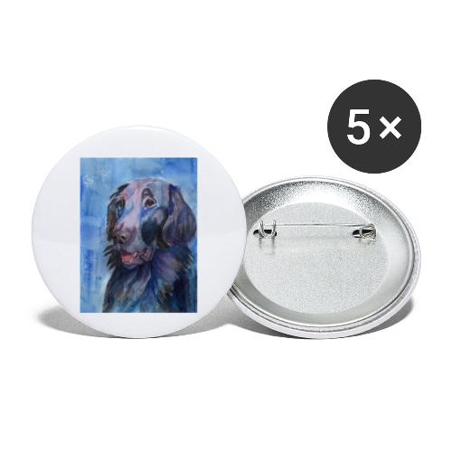 flatcoated retriever - watercolor - Buttons/Badges lille, 25 mm (5-pack)