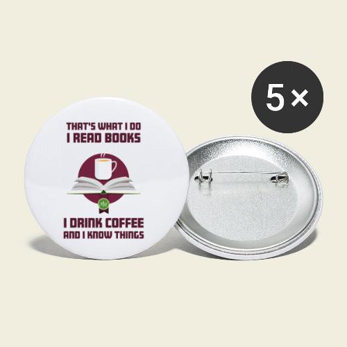 Buch und Kaffee, dunkel - Buttons klein 25 mm (5er Pack)