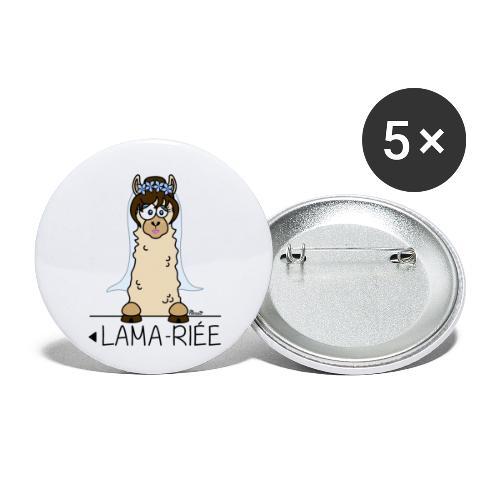 LAMARIEE (1de2), Mariage, mariée, Lama - Lot de 5 petits badges (25 mm)