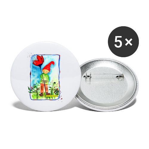 Zwerg - Buttons klein 25 mm (5er Pack)