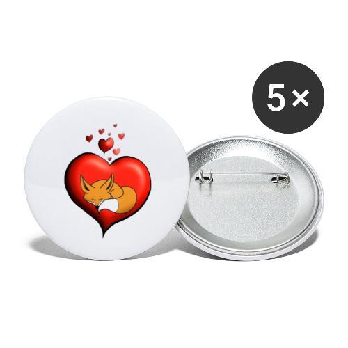 Renard Fuchs coeur rouge - Lot de 5 petits badges (25 mm)