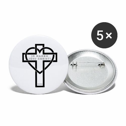 Im Namen JESU CHRISTI - schwarz - Buttons klein 25 mm (5er Pack)