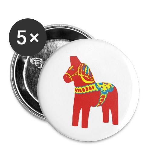 Dalahäst Dalecarlian Horse Dala-Pferd. Schweden - Buttons klein 25 mm (5er Pack)