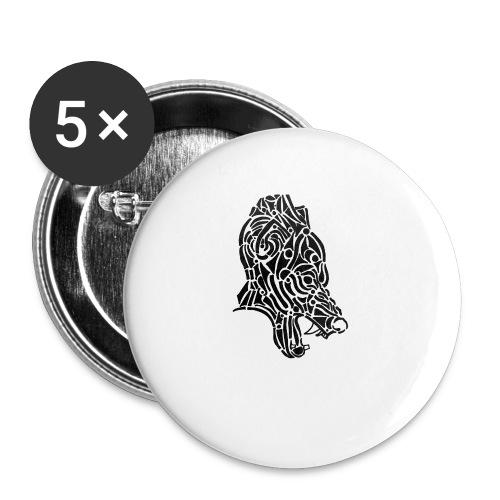 Wolf - loup tribal - Lot de 5 petits badges (25 mm)