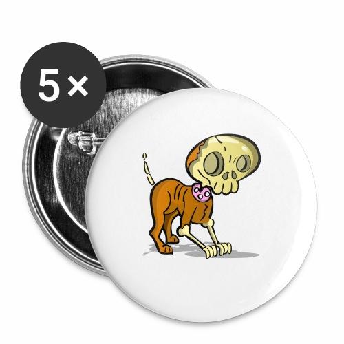 perro zombie - Paquete de 5 chapas pequeñas (25 mm)