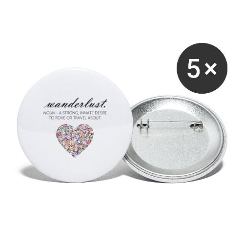 Wanderlust - I love to travel / I love travelling - Liten pin 25 mm (5-er pakke)