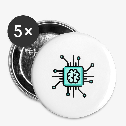 Brain chip - Buttons small 1''/25 mm (5-pack)