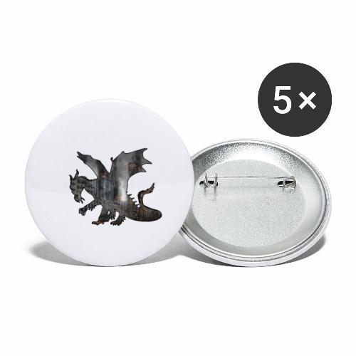 Le Dragon destructeur - J'peux pas j'ai Dragon - Lot de 5 petits badges (25 mm)