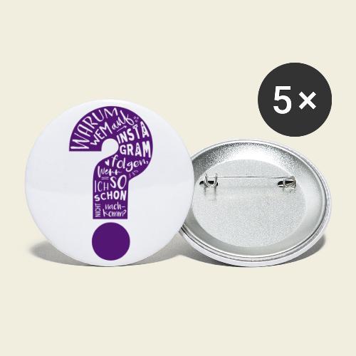 Warum folgen - Design schwarz - Buttons klein 25 mm (5er Pack)
