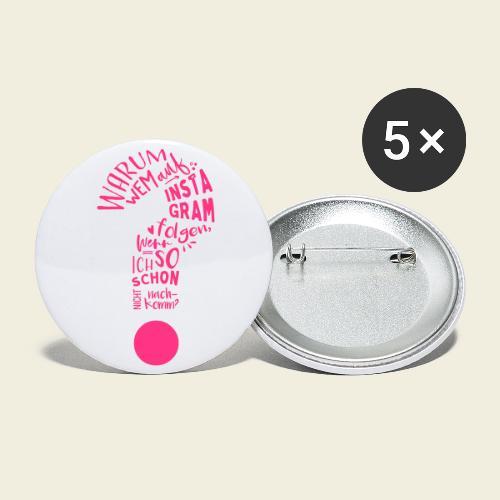Warum folgen - Design - Buttons klein 25 mm (5er Pack)