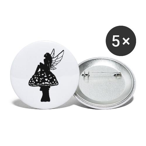 Silver fairy BLACK - Buttons small 1''/25 mm (5-pack)