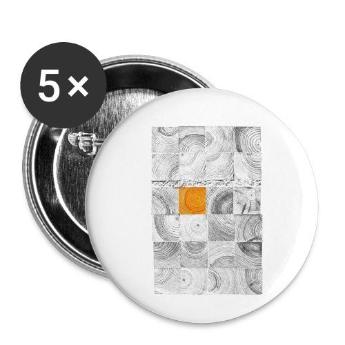 Cubes de Bois - Lot de 5 petits badges (25 mm)