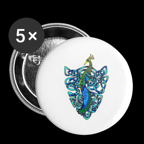 Peacock - Buttons small 1''/25 mm (5-pack)