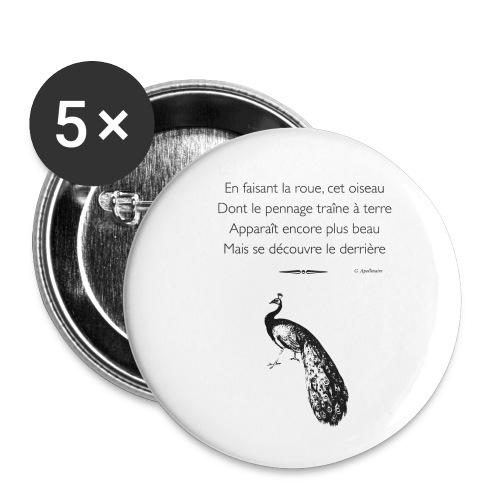 Le Paon d'Apollinaire - Lot de 5 petits badges (25 mm)