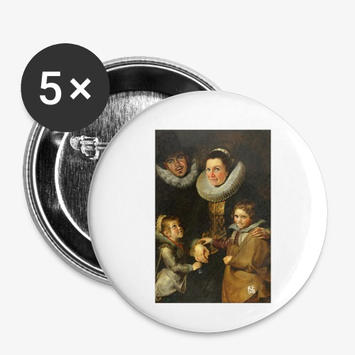 familie-engels2-canvas - Buttons klein 25 mm (5-pack)