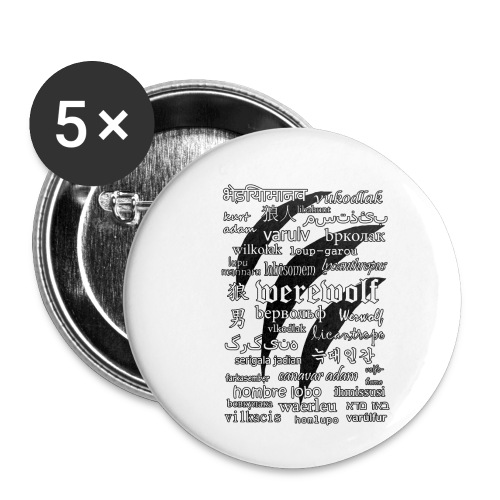 Werewolf in 33 Languages.png - Buttons small 1''/25 mm (5-pack)