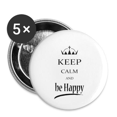 keep_calm and_be_happy-01 - Confezione da 5 spille piccole (25 mm)