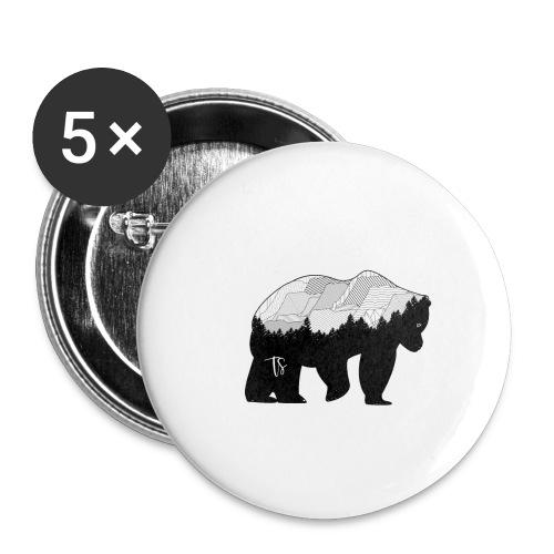 Geometric Mountain Bear - Confezione da 5 spille piccole (25 mm)
