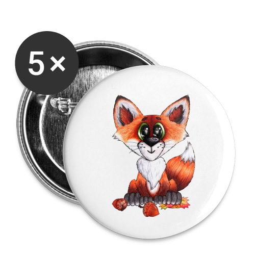 llwynogyn - a little red fox - Buttons/Badges lille, 25 mm (5-pack)