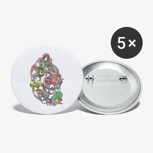 Flower Power - Rough - Små knappar 25 mm (5-pack)