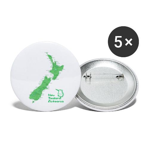 New Zealand's Map - Buttons small 1''/25 mm (5-pack)