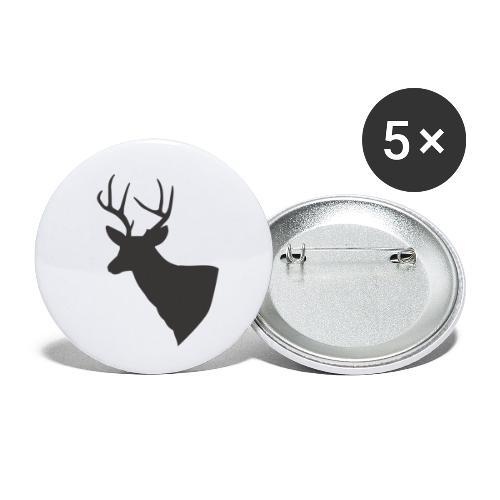 Silueta trofeo ciervo en negro. - Paquete de 5 chapas pequeñas (25 mm)