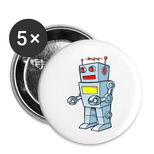 Robot - Confezione da 5 spille piccole (25 mm)