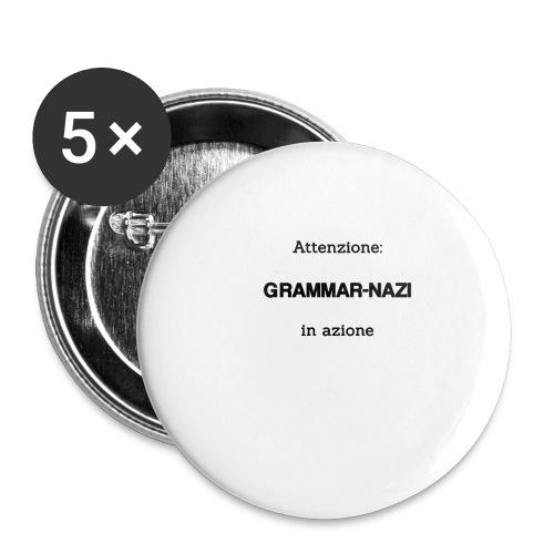 Attenzione: Grammar-nazi in azione - Confezione da 5 spille piccole (25 mm)