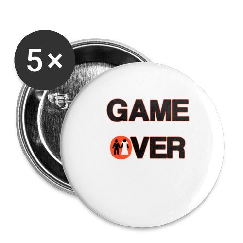 Addio al celibato - Game over rosso - Confezione da 5 spille piccole (25 mm)