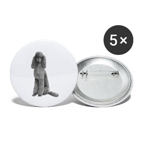 poodle standard black / kongepuddel sort - Buttons/Badges lille, 25 mm (5-pack)
